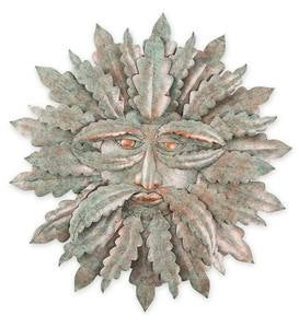 Handcrafted Metal Indoor/Outdoor Green Man Wall Art