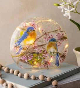 Lighted Bluebirds on Redbud Branches Crackled Glass Tabletop Art