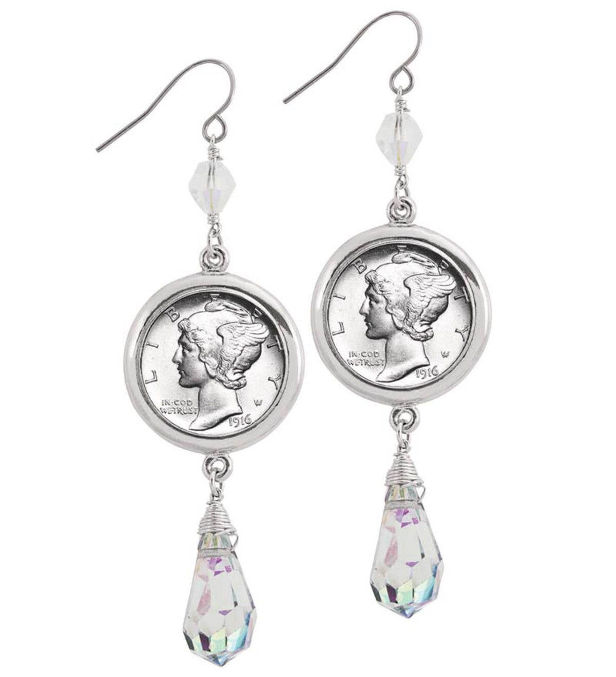 Silvertone Mercury Dime Crystal Drop Earrings - Silver