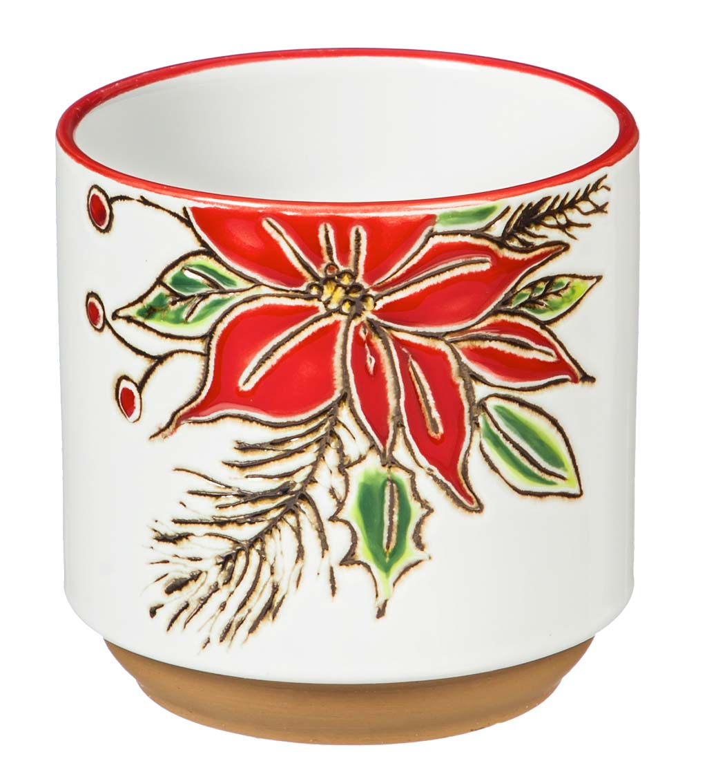Holiday Ceramic Cachepot, Set of 3
