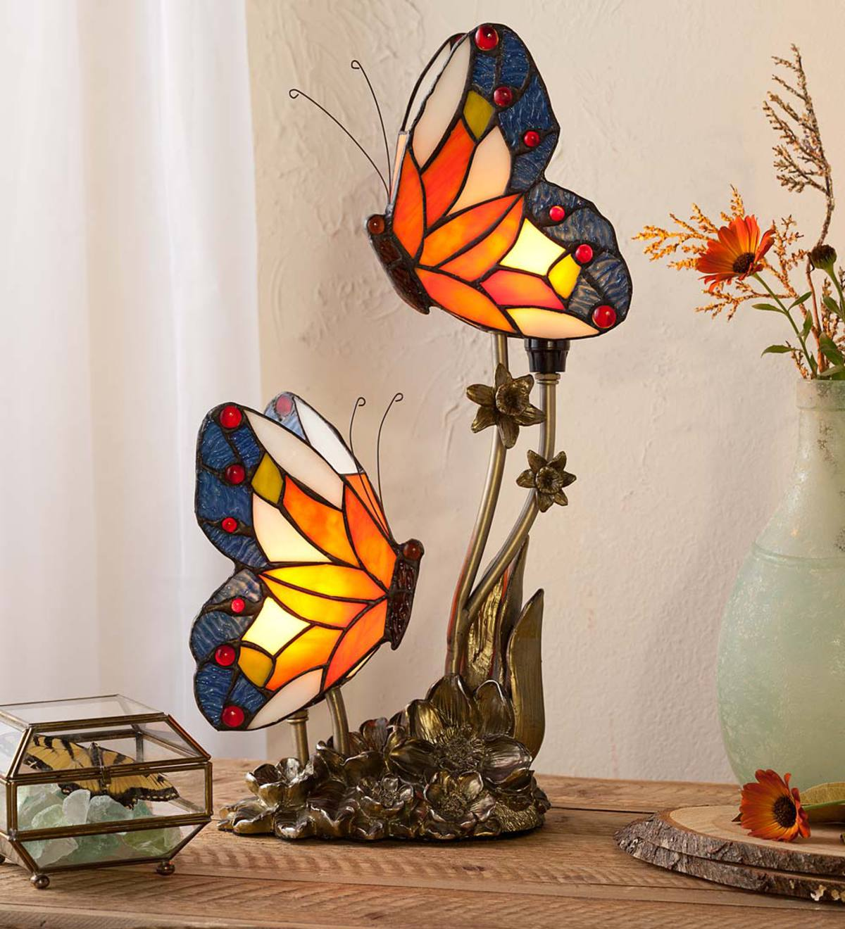 Double Butterfly Stained Glass Lamp