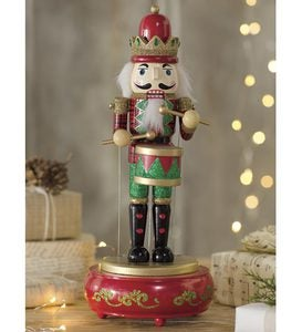 Wooden Musical Nutcracker Statue - Free 2 Day Delivery - Red Base