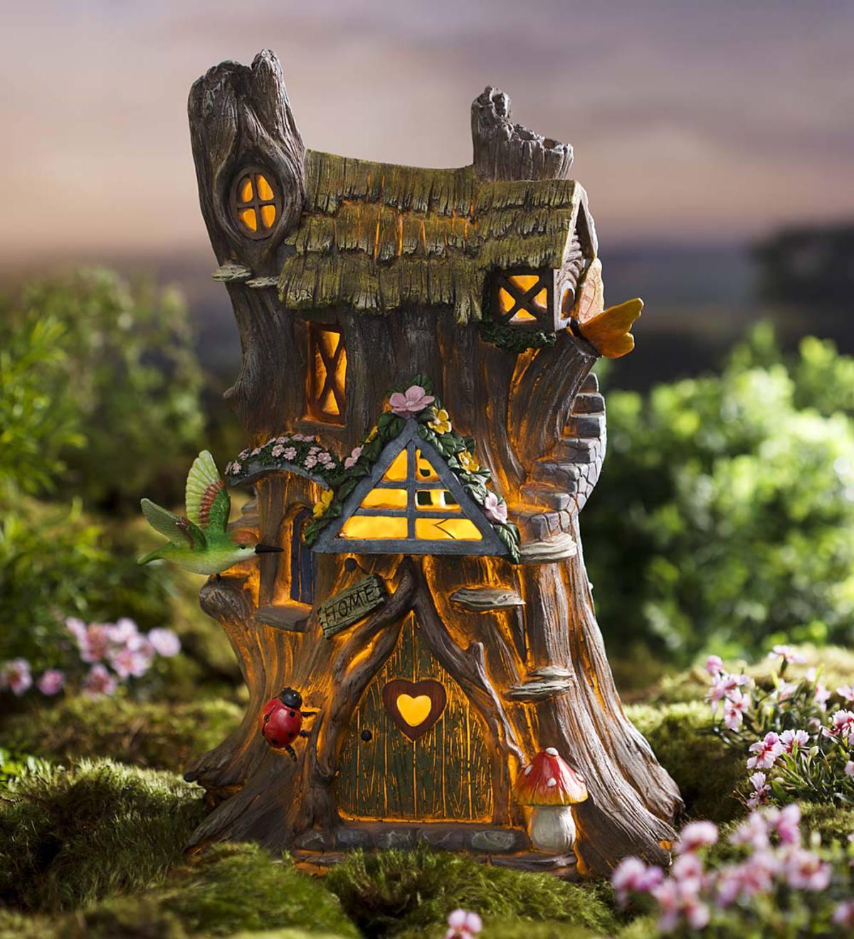 Resin Solar Tree Stump House | Lighted Garden Accents | Garden Décor ...