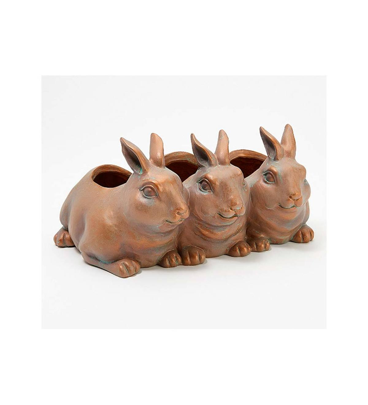 Metallic Finish Rabbit Trio Planter
