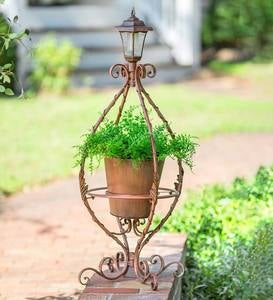 Antiqued Wrought Iron Plant Stand with Solar Light