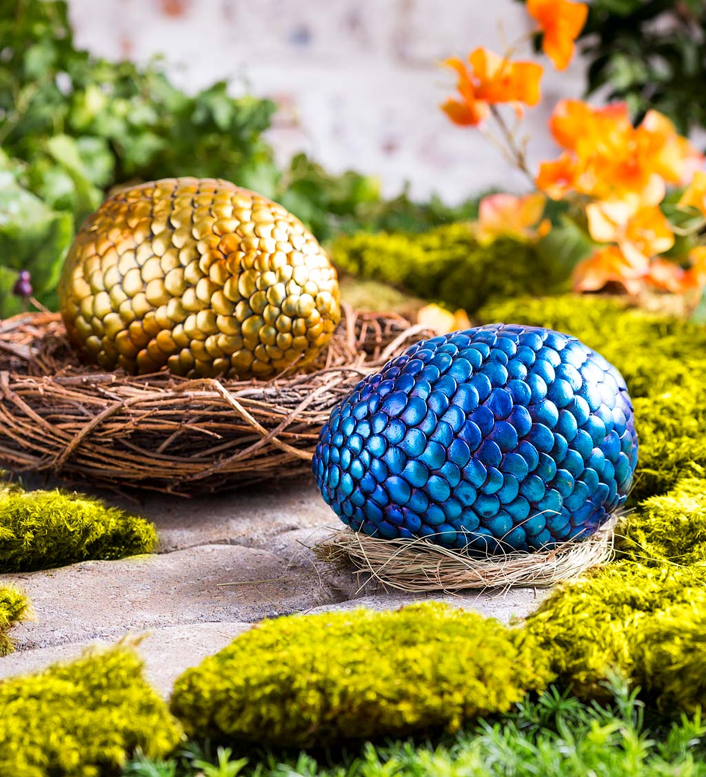 Weather-Resistant Resin Dragon Egg Key Hider with Metallic Finish
