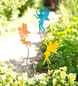 Metal Fairy Silhouette Garden Stakes, Set of 3
