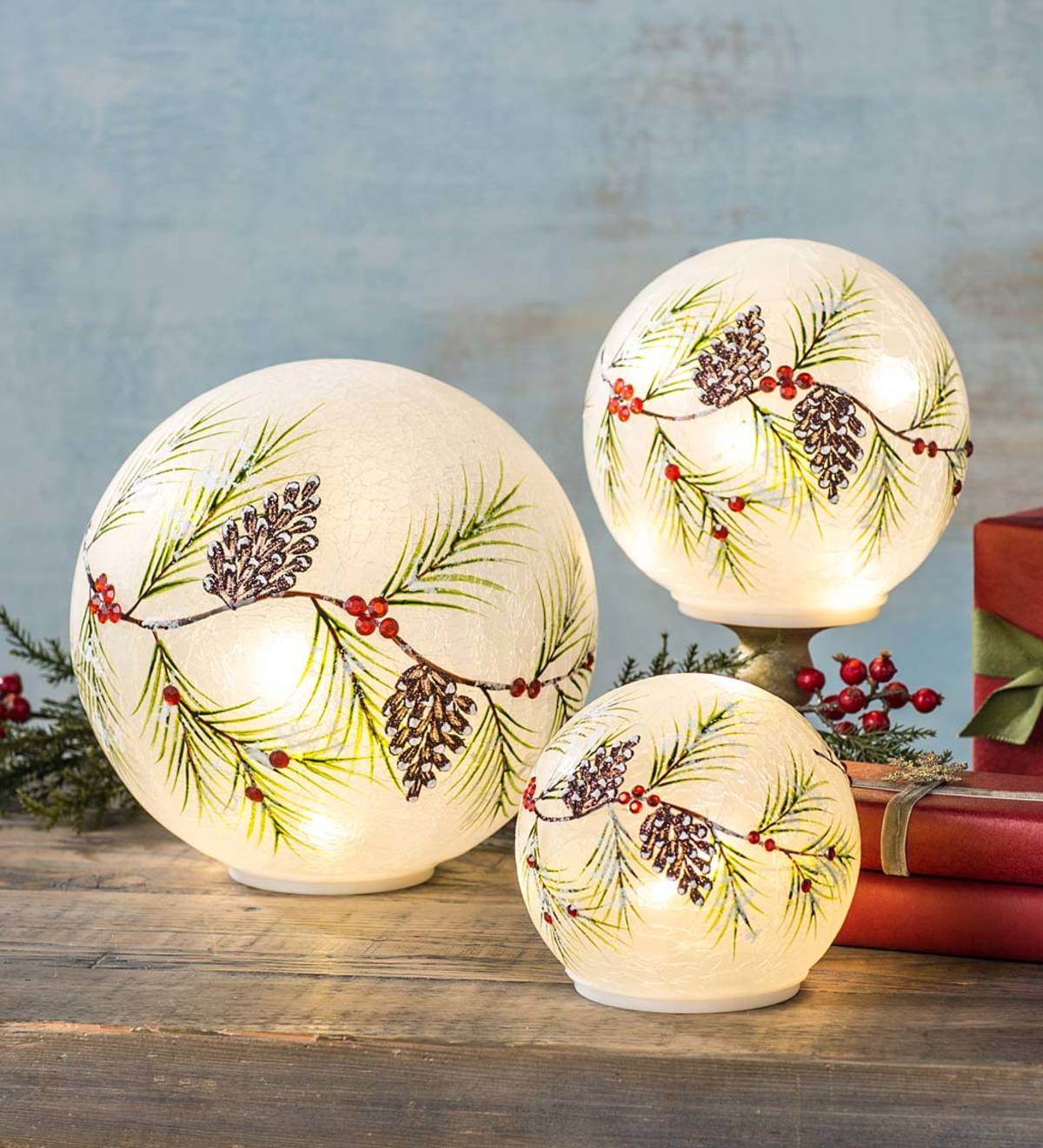 Lighted Holiday Frosted Glass Pinecone Globes Set Of 3 Wind And Weather