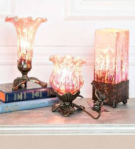 Mercury Glass Accent Lamps, Set of 3 - Pink