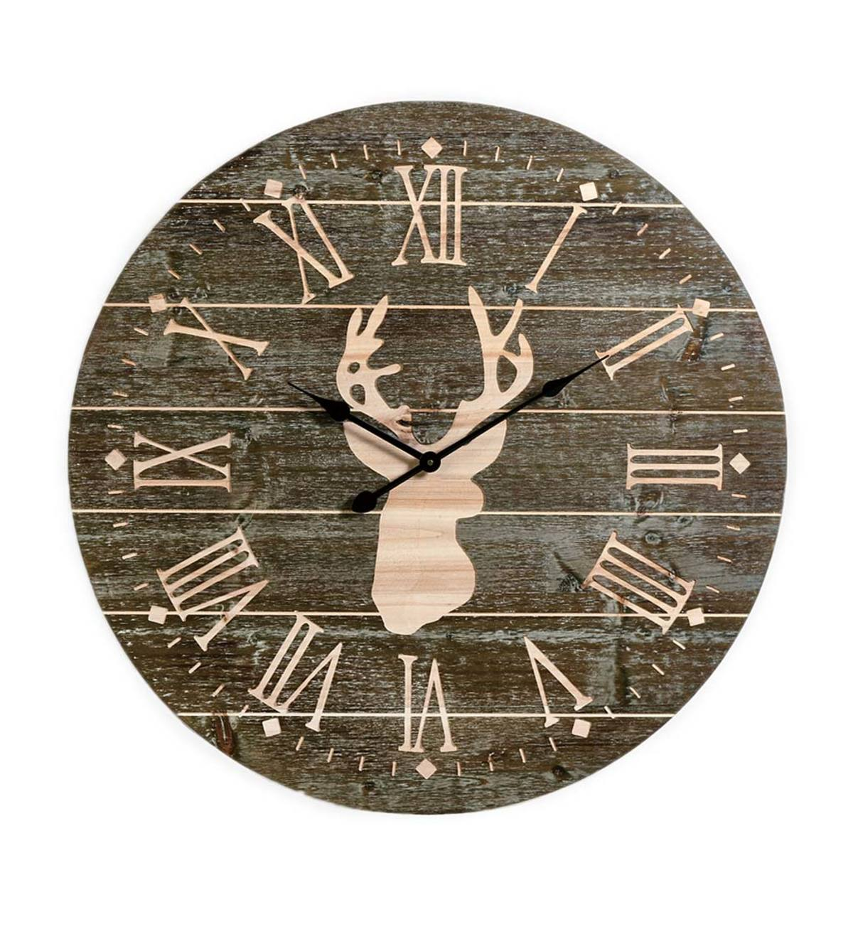 Large Wall Clock with Deer Silhouette