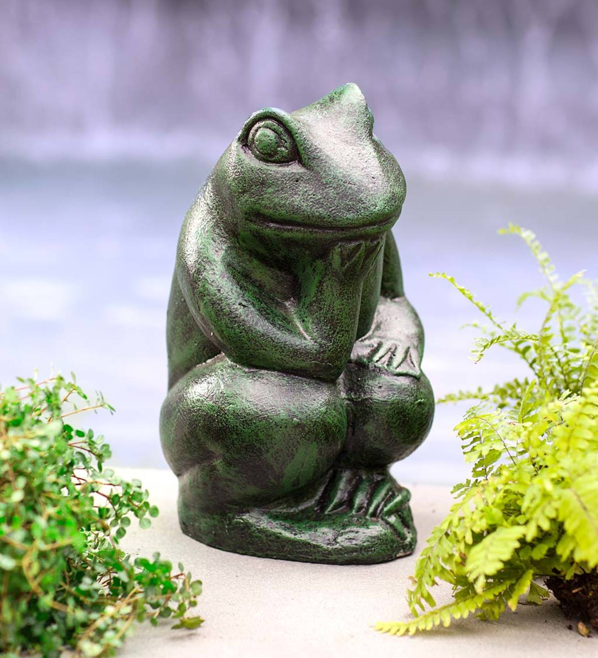Thinking Frog Garden Statue  Wind and Weather