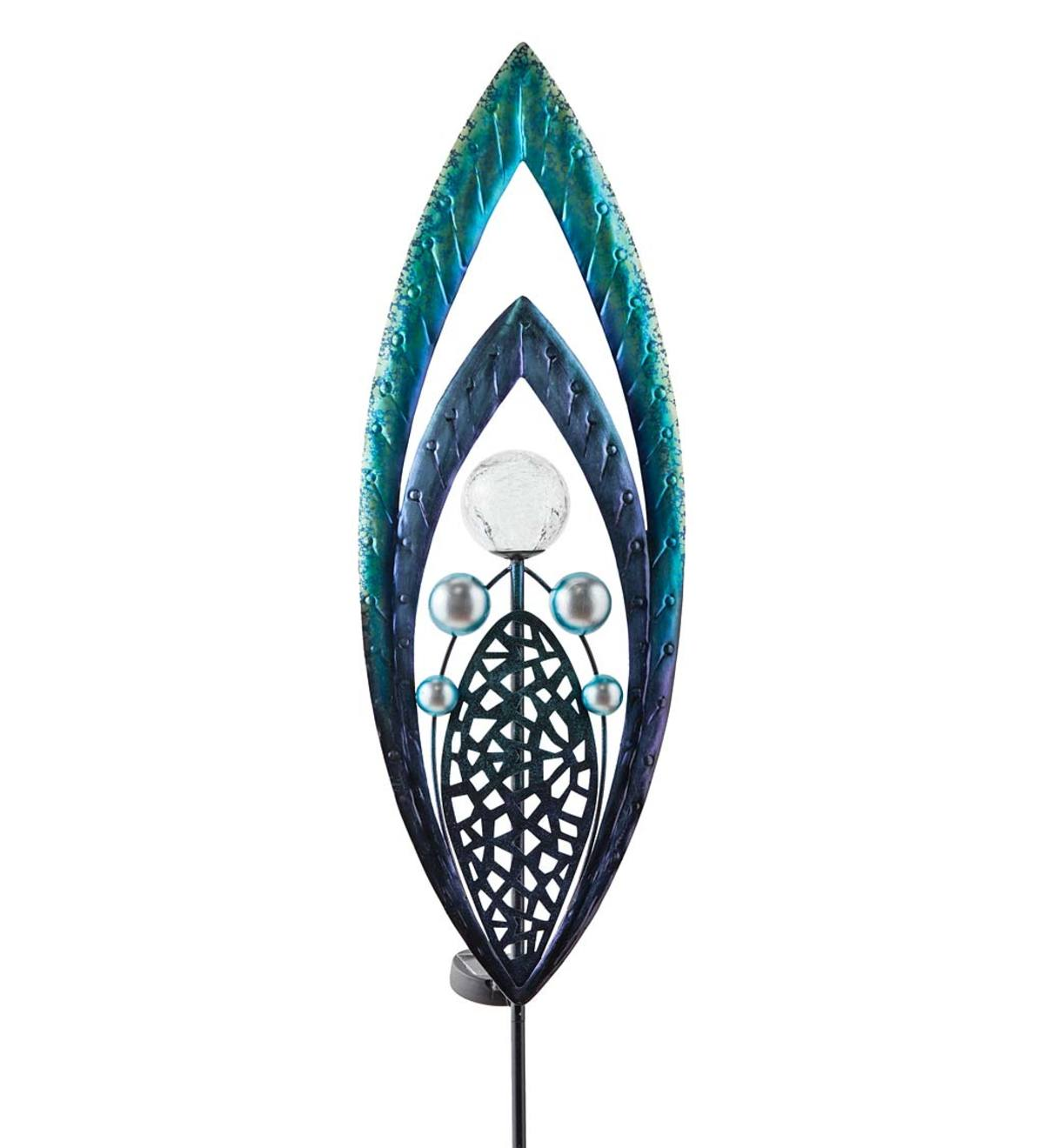 Metal and Glass Solar Spear Garden Stake - Blue