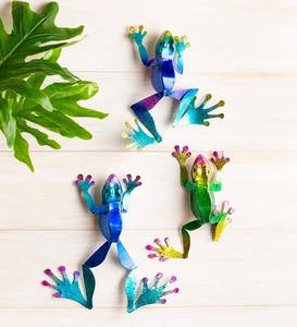 Colorful Metal Frogs for Wall or Tabletop, Set of 3