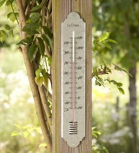 Large Galvanized Metal Thermometer
