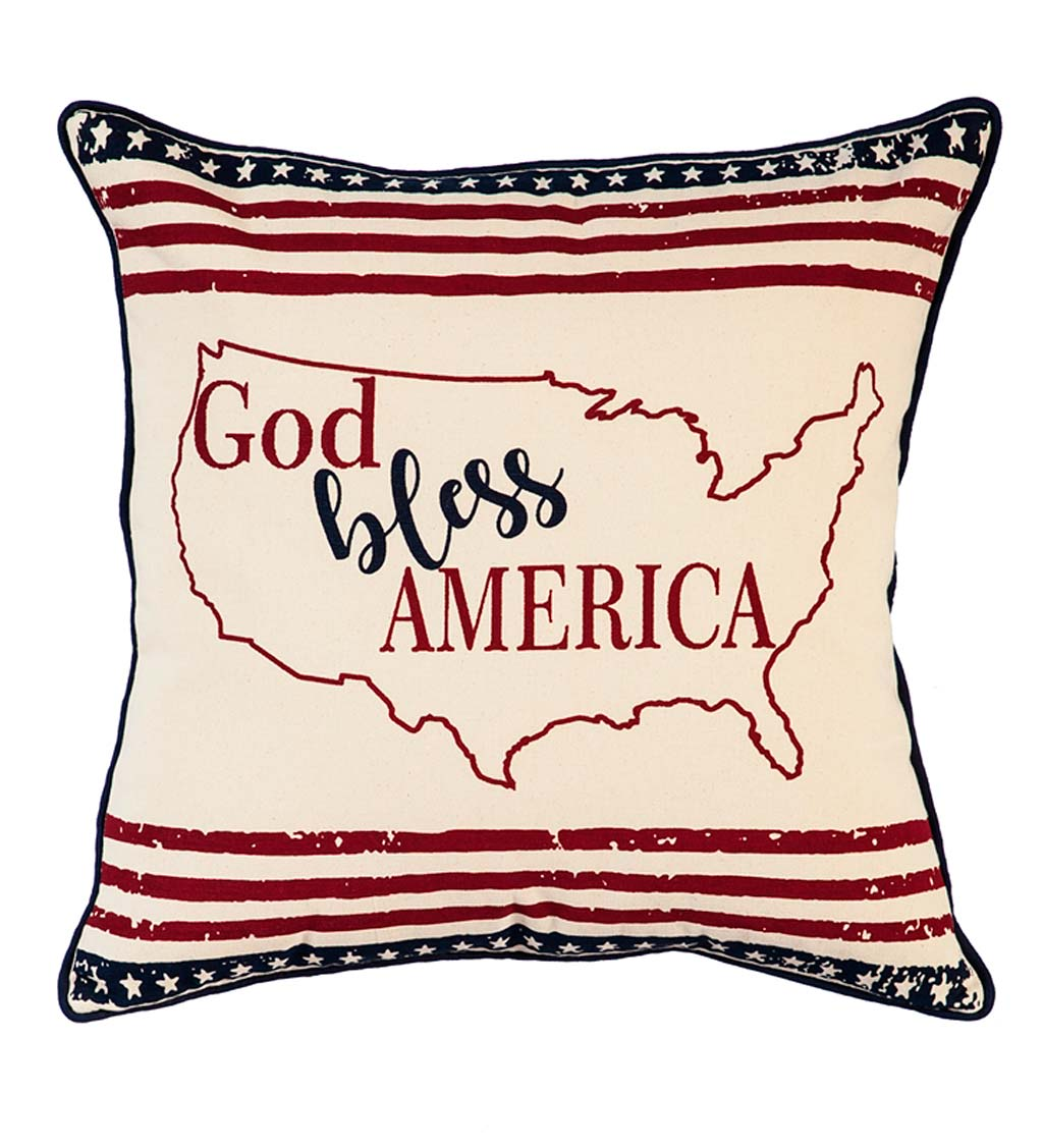 God Bless America Patriotic Throw Pillow