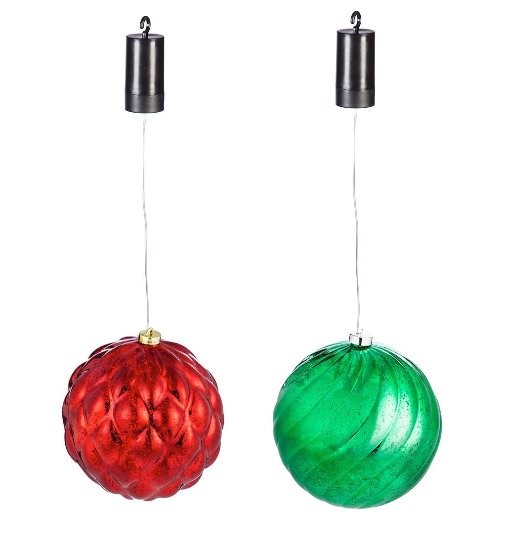 Indoor/Outdoor Shatterproof Holiday LED Lighted Hanging Ornament, Set of 2 - Red and Green