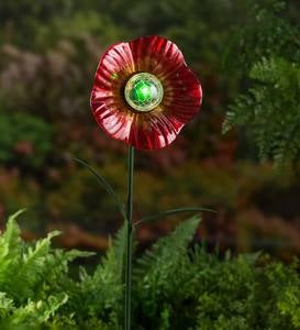 Solar Red Glass Flower Garden Stake