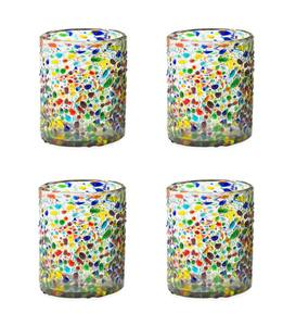 Handcrafted Recycled Glass Confetti Old-Fashioned Glass, Set of 4