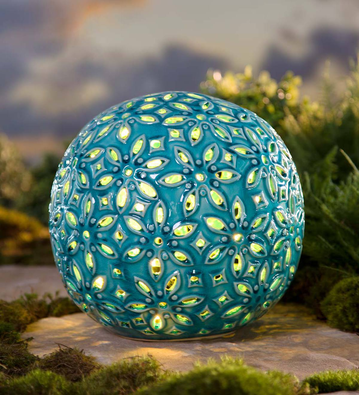 Lighted Ceramic Flower Globe - Blue