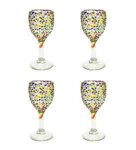 Handcrafted Recycled Glass Confetti Wine Glasses, Set of 4