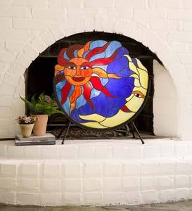 Sun and Moon Fireplace Screen