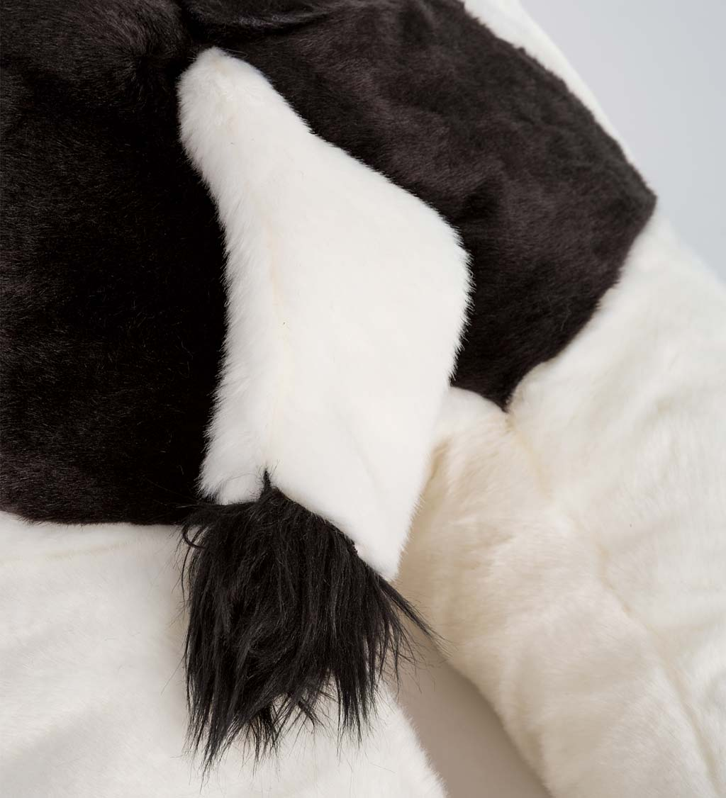 Super Soft Black & White Cow Body Pillow with Beaded Eyes