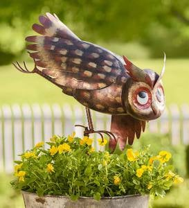 Metal Yoga Owl Garden Sculpture
