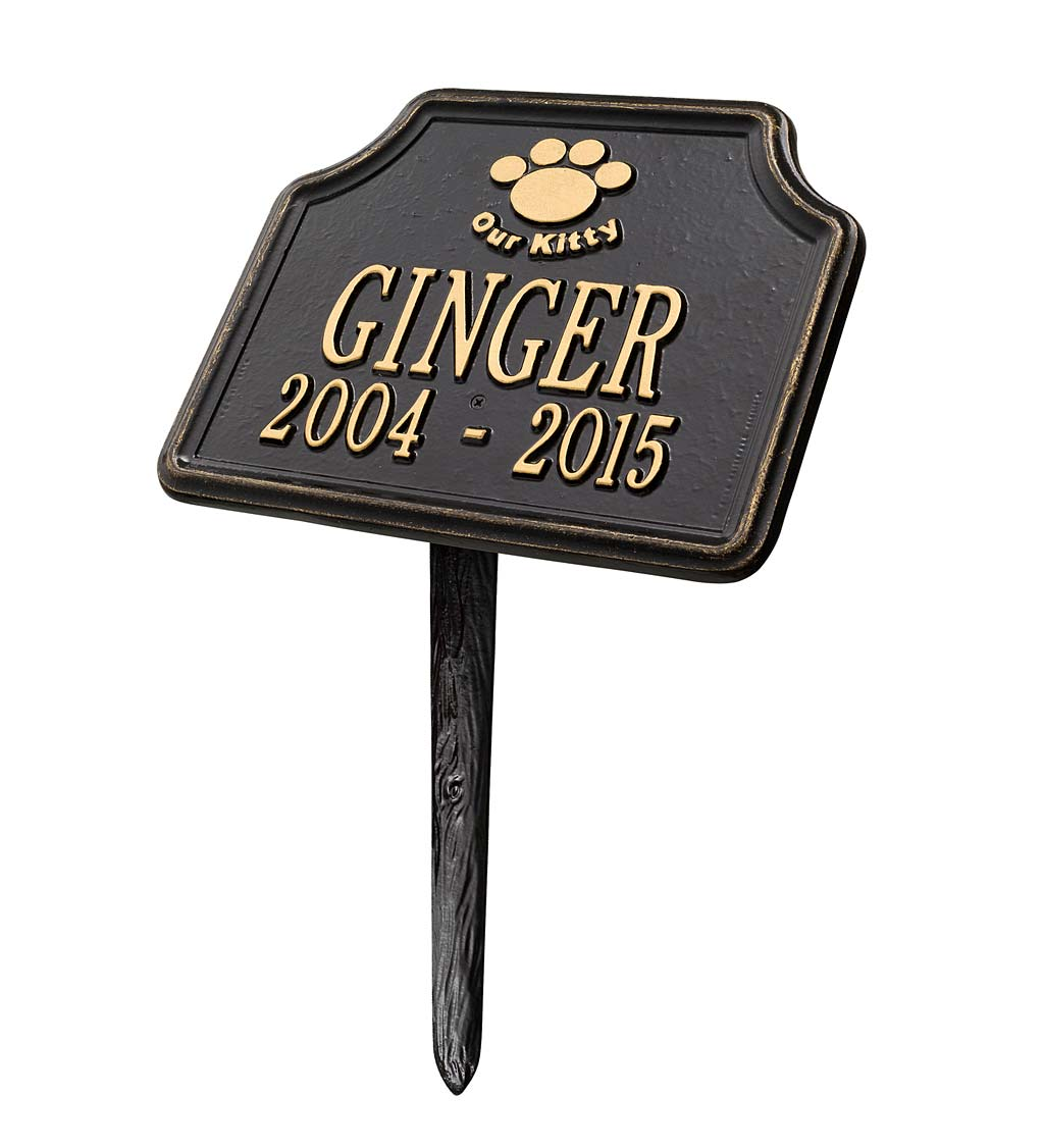 Our Kitty Customizable Metal Cat Memorial Marker Stake