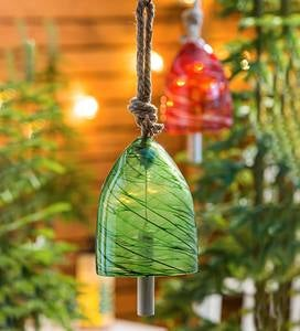 Colorful Swirled Glass Bell Chime - Green