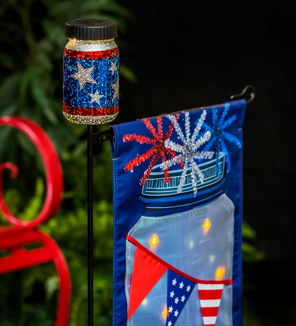Solar Integrated LED Patriotic Jar Landscape Light Garden Decor New