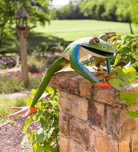 Large Colorful Handcrafted Metal Climbing Frog Garden Sculpture