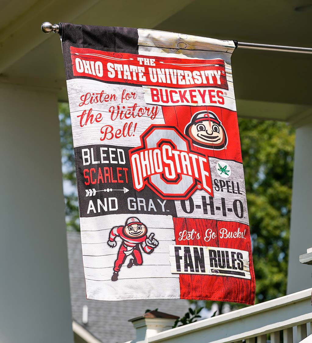 Double-Sided Fan Rules College Team Pride Linen House Flag - Ohio State