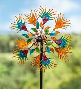 Jeweled Flower Metal Wind Spinner