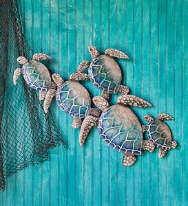 Handcrafted Metal and Capiz Sea Turtles Wall Art