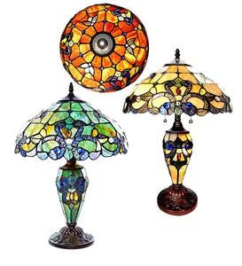 Stained Glass Double-Lit Table Lamp - Spice