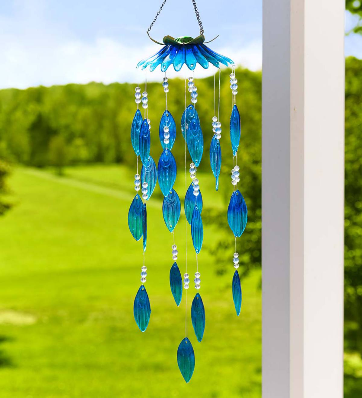 Colorful Glass Flower Petals Wind Chimes - Blue