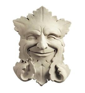 Smiling Green Man Face Cast Stone Wall Art