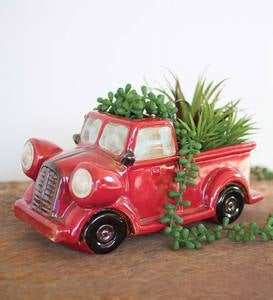 Ceramic Vintage Pickup Truck Planter