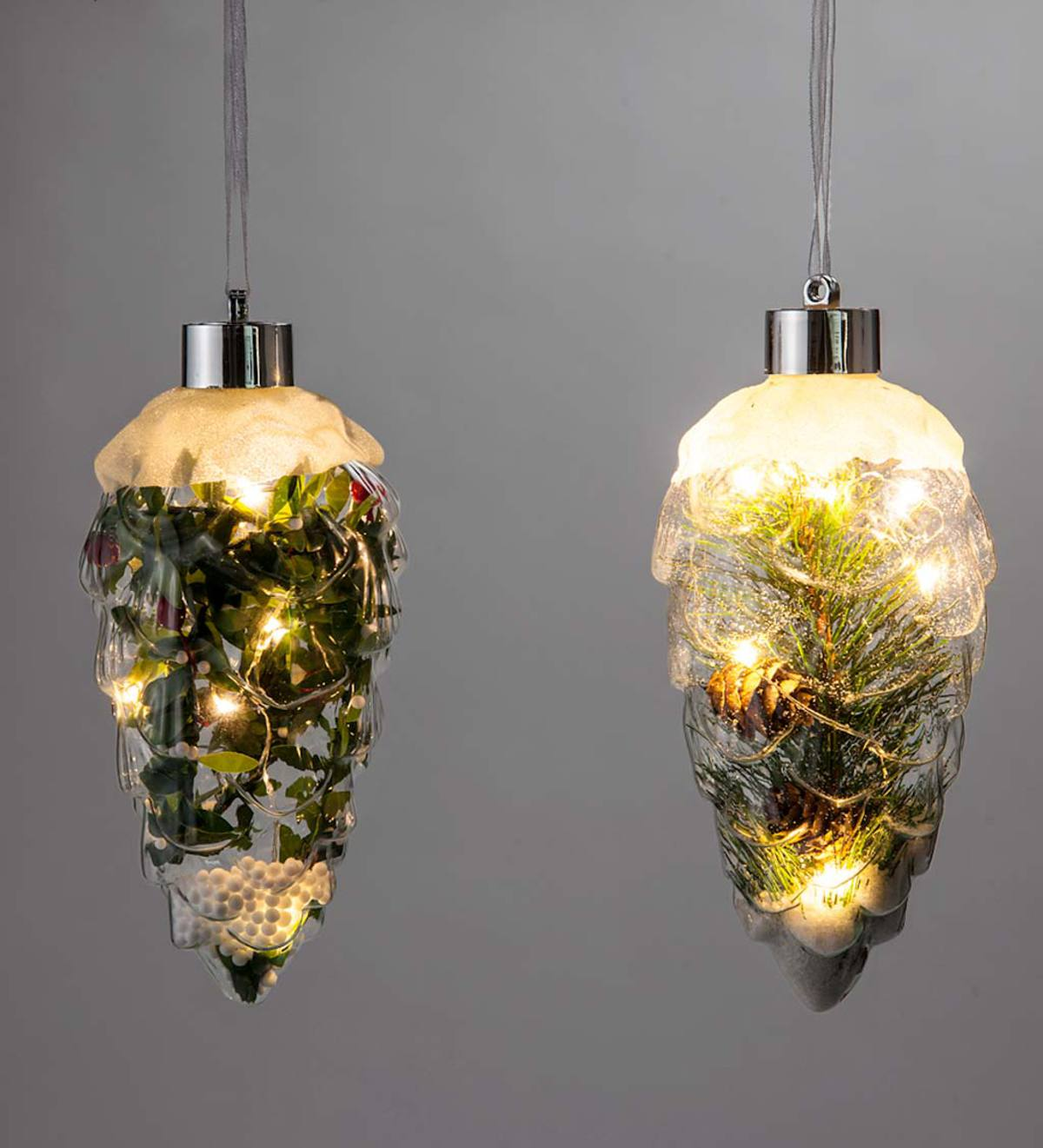 Lighted Glass Pinecone Ornaments, Set of 2