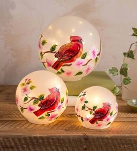 Glass Lighted Cardinal Orbs, Set of 3