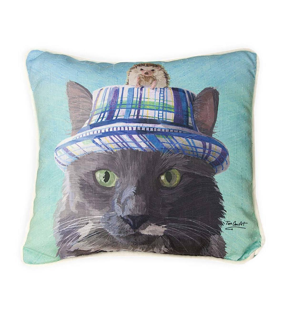 Cat in a Hat with Hedgehog Throw Pillow