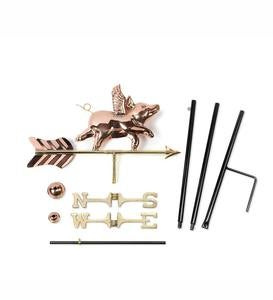 Copper Flying Pig Garden Weathervane with Pole