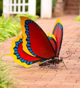 Large Handcrafted Red Metal Butterfly