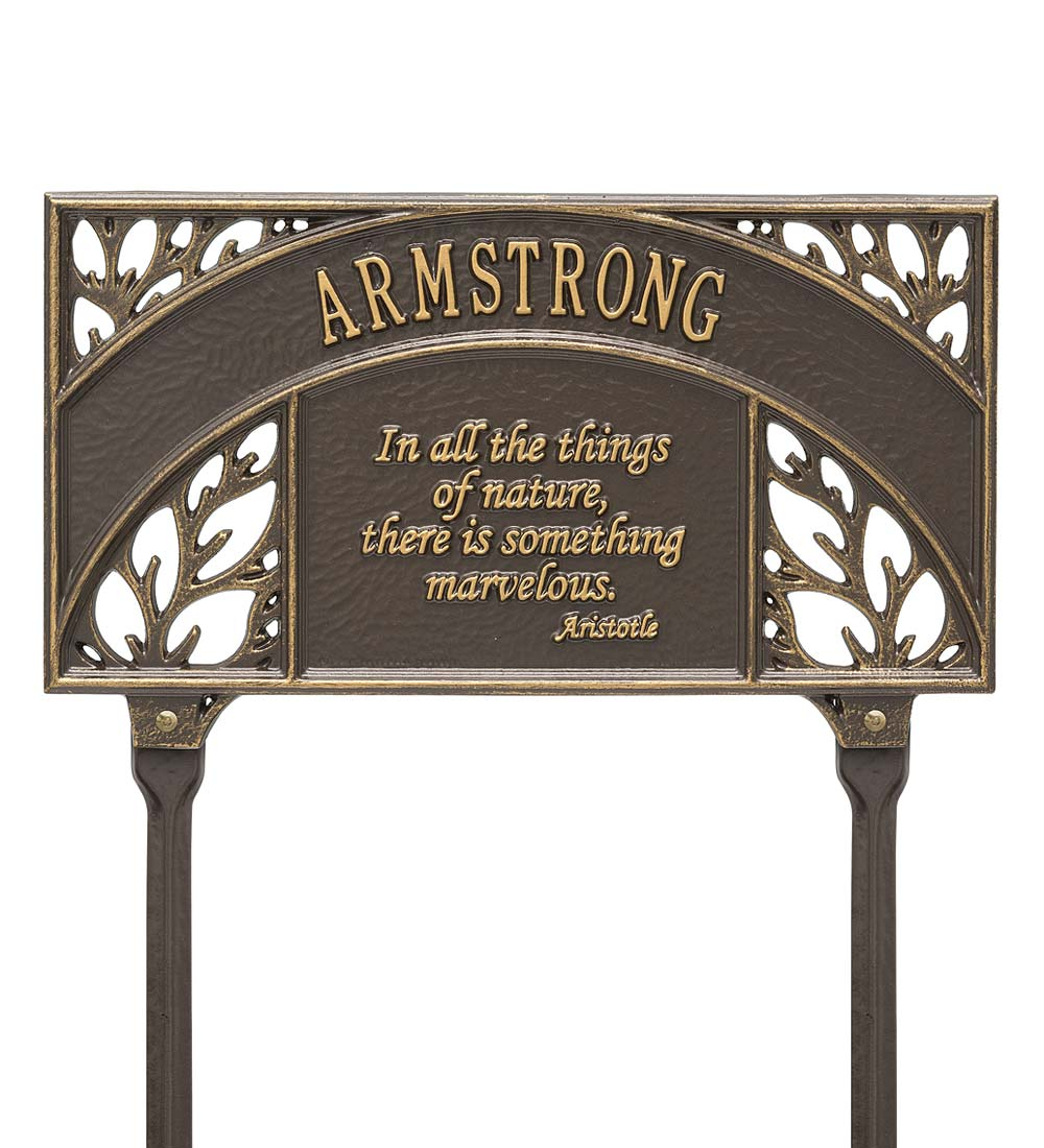 Personalized Aristotle Quote Garden Plaque