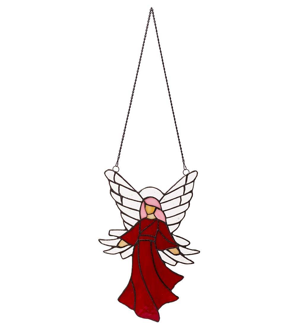 "Colorful Stained Glass Angel Sun Catcher with 24"" Hanging Chain"