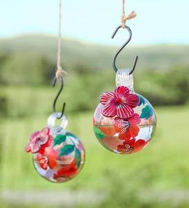 Hand-Painted Spherical Glass Hummingbird Feeder