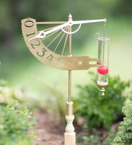 Brass Jeffersonian Float-and-Lever Rain Gauge with Mounting Stake