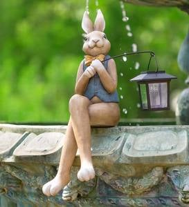 Indoor/Outdoor Sitting Bunny Sculpture with Solar Lantern