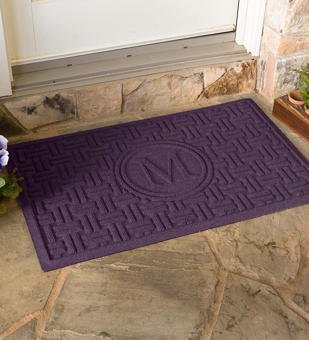 Waterhog Basket Weave Doormat with Single Initial, 2' x 3' - Bordeaux