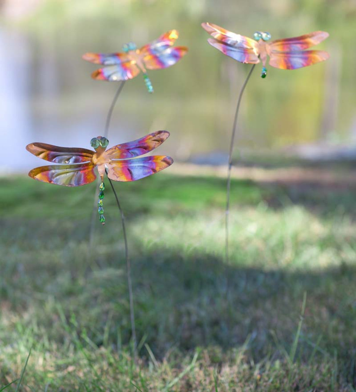 Handcrafted Copper Dragonfly Garden Stake